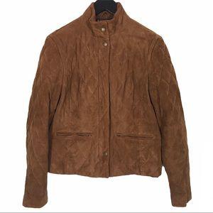 Brooks Brothers Quilted Suede Zip Jacket Cognac 4
